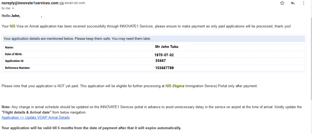 how to save a nigerian visa application
