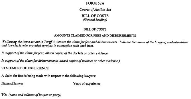 cost in ontario for small claims court application