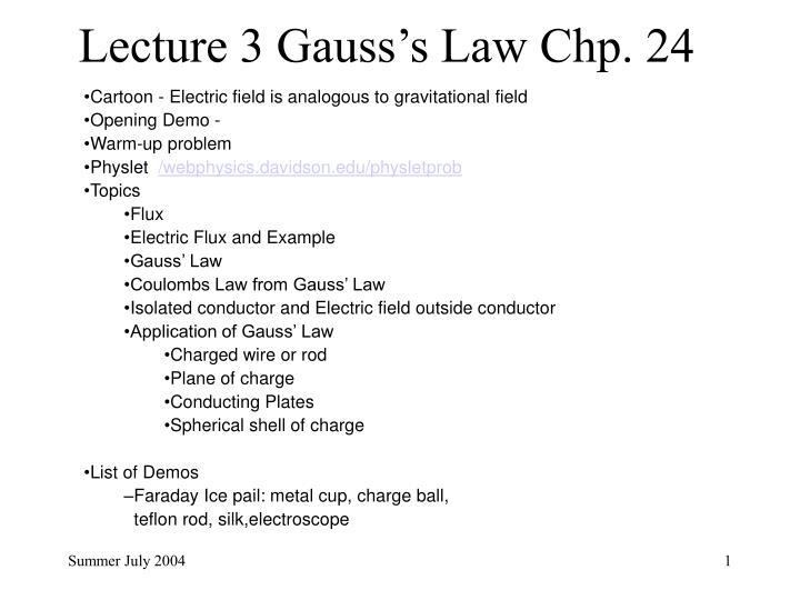 gauss law and its applications ppt