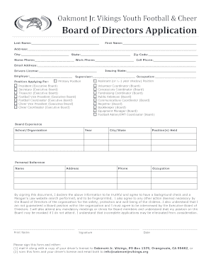 tchc board of directors application